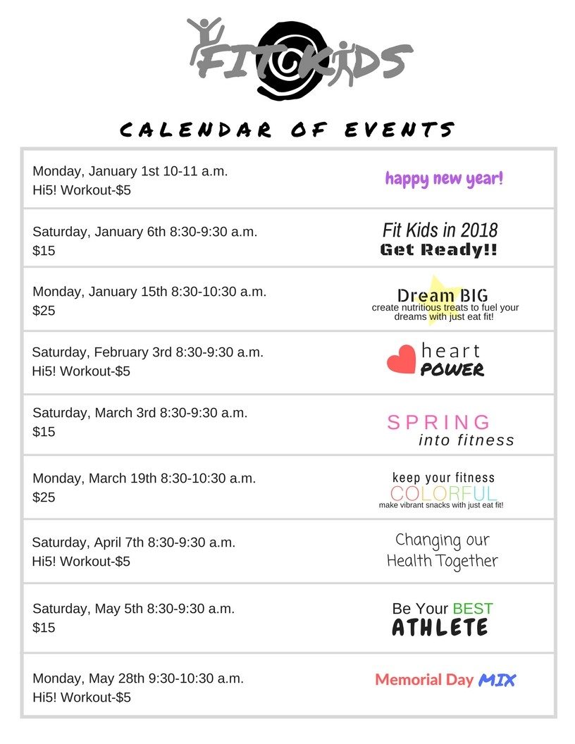 fit kids calendar of events 2018 2